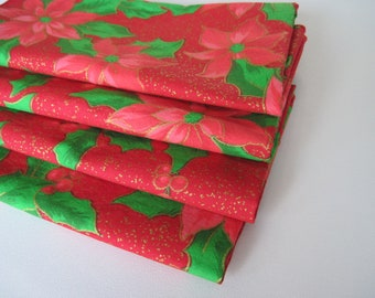 Red Poinsettia Napkins Red and Gold Napkins Red Christmas Napkins for Christmas Red and Green Napkins Red and Gold Napkins