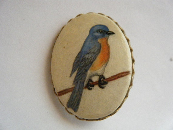 Vintage Brooch Bluebird of Happiness Hand Painted