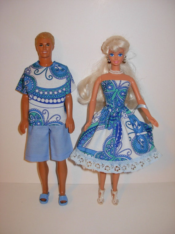 Handmade matching clothes for barbie and ken doll
