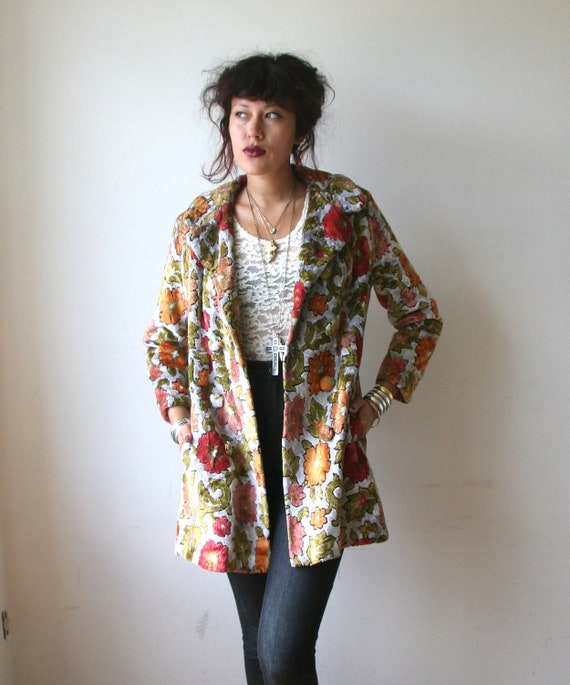 60s Floral Tapestry Jacket Coat Sz M