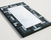 "Black and Gray Stained Glass Mosaic Mirror 10"" x 16"""