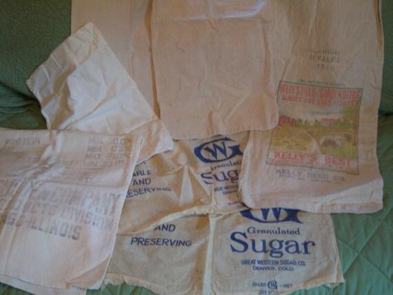 Lot of 6 Feed Sacks, Seed Sacks, Sugar Sacks