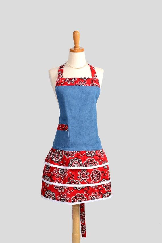 Ruffled Retro Apron . Flirty Full Womens Apron in Denim and Red Bandana Apron in Cute Ruffled Vintage Style Skirt