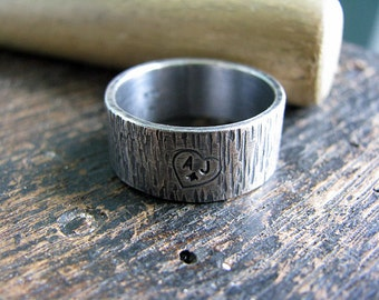 Men's Tree Bark Ring with Initials