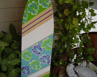 4FT SURFBOARD All Hand Painted. Tropical Hawaiian Wall Hanging Art. Purple Lime Green Turquoise Surf Room. Headboard Lots Designs 2 Sizes