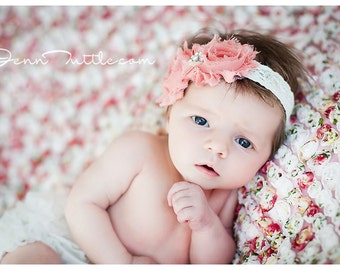 Baby girl Set- BABY BLOOMER and HEADBAND Set, Shabby Chic headband,Ruffle bloomer,Diaper Cover,Cream Bloomer, Baby Headband, Newborn bloomer