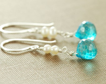 Swiss Blue Pearl Drop Earrings in Sterling Silver, Wire Wrap Dangle Earrings, aubepine
