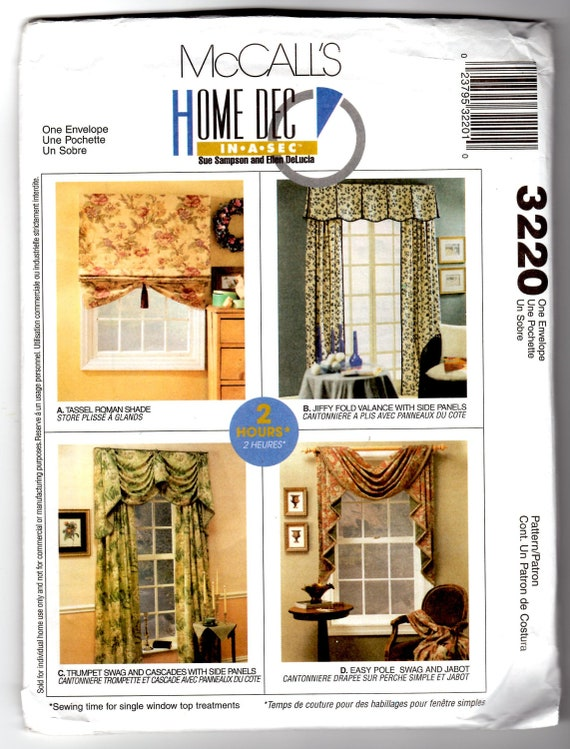 2001 UnCut McCall's 3220 Craft Sewing Pattern Curtains and Shades