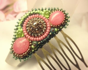 Elegant Vintage Bronze Button Pink Jasper Glass Beads Tiny Antique Bronze HAIR COMB