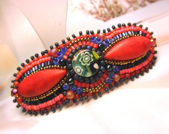 CHRISTMAS RED --  Imitated Coral Milleflori Glass Beaded Hair Embroidered Barrette