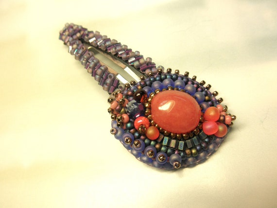 PURPLE and ROSE -- Gemstone and Glass Beaded Snap Hair Clip