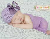 Organic Cotton Beanie Hat - Lavender Purple Hat with Satin Bow and Rhinestone - Fancy Newborn Photo Prop