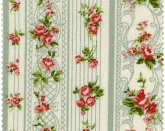 Romantic Memories Cotton Fabric Quilt Gate 8787-3D Green stripes and pretty pink roses