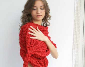 Red Scarf Shawl  Christmas gift  UNDER 75USD For Her