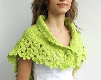 Handmade Pistachio Green Midi Shawl scarf collar Capelet Cowl Mothers day  Gift under75