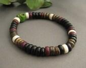 Men's Bracelet, Mens bracelet Featuring A Green Skull Bead, Stretch Bracelet, Beaded Dude Bracelet,  MB 123