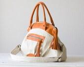 Arethusa - handbag and messenger bag in cotton stripe canvas and Orange leather