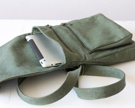 Mens messenger bag in green canvas - MINI version  , Cyber Monday Etsy