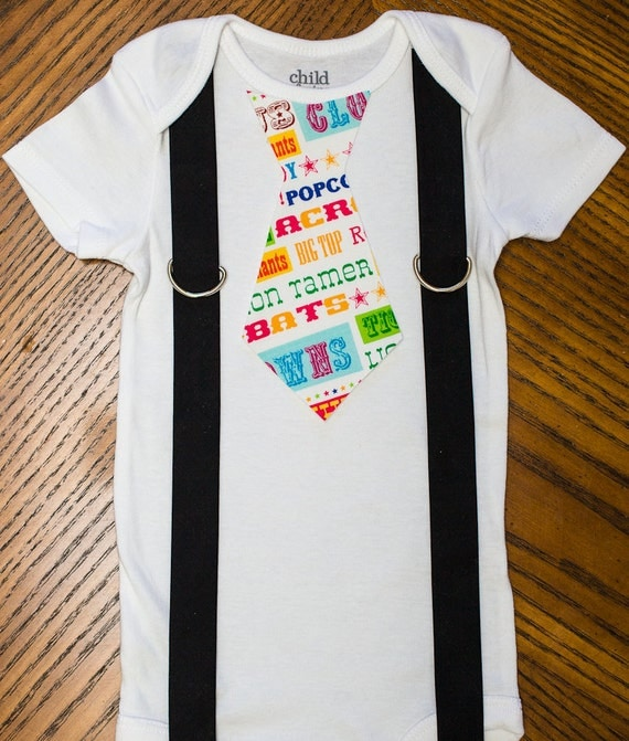 Big Top Birthday Tie and Suspenders Onesie