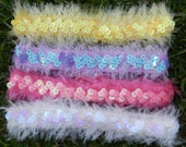 4 FOR 2-Fuzzy Sequin Headbands-Hot Pink-Yellow-Lavender-White