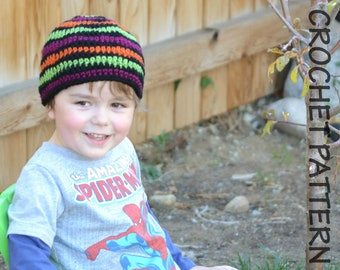 CROCHET HAT PATTERN Shockwave Beanie - Kids Size