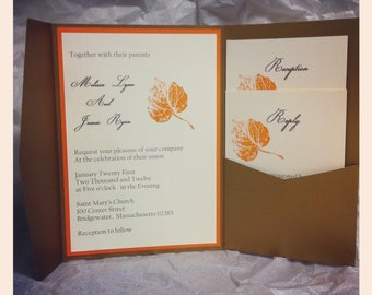 Fall leaves themed wedding invitation suite