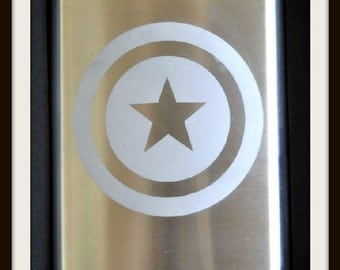 Captain America Etched Flask by Jackglass on Etsy