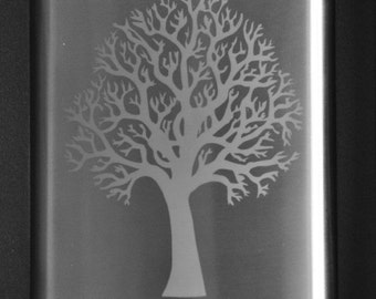 Etched Stainless Tree Flask Personalized by Jackglass on Etsy