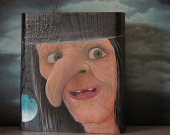 SALE -Halloween witch painting -shelf sitter on wood