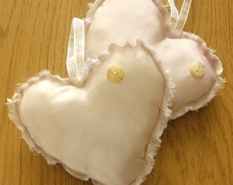 Dusky Pink Lavender Scented Hearts - Wedding Favours - Bulk Buy x 18 - Hand Dyed - Shabby Chic - Ready to Ship