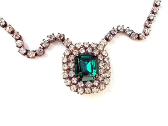 Vintage Rhinestone and Glass Choker, Necklace, cr. 1930s, Estate Collection, Large Green Stone , Pendant      RESERVE for Di/sold