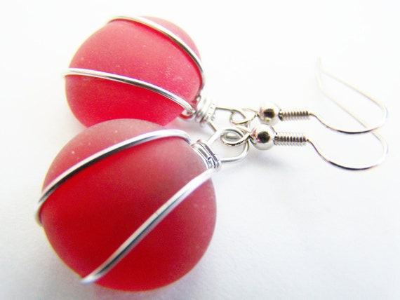 Scarlet Red SEAGLASS earrings -low shipping & pendant also available-everyday gifts- bridesmaids and wedding sets also available