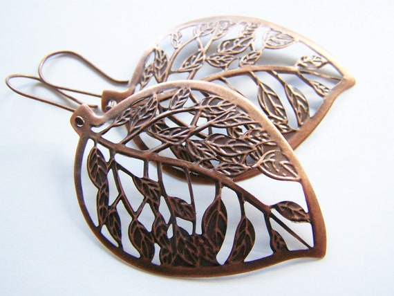 FREE SHIPPING: Leaf Skeleton Earrings (free shipping with another item) - affordable gift - antiqued copper- bold - big