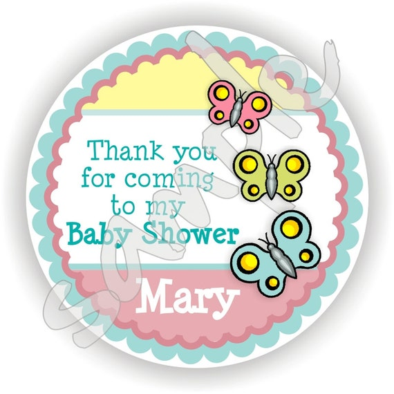 Butterfly Theme - 40 Thank You 2 inch circle Stickers - Birthday - Baby Shower - Envelope Seal - Address Label - Personalized
