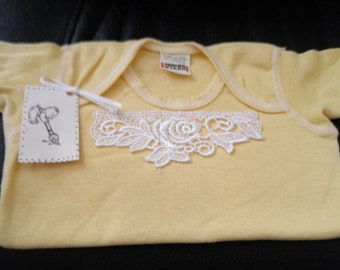Lace-front short-sleeve T-shirt size 18 months...MADE IN THE U.S.A.