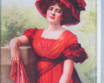 Gorgeous c1910 American Beauties Advertising Blotter Dominion Belting Co. Ephemera Advertising Card