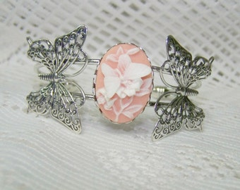 BUTTERFLY Cuff Bracelet - Peachy Pink and White Butterfly Cameo - Woodland Wedding - Adjustable Bangle Cuff Bracelet  - Garden Wedding