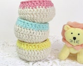 Pastel Baskets Pink Aqua Yellow Baby Nursery Décor Spring Crochet Bowls Little Containers Small Organizers Set of 3