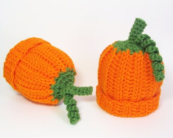 Baby Pumpkin Hat Infant Beanie Orange Squash Cap Size 3 to 6 Months Scorpio Child Autumn Accessory Halloween Costume Whimsical Photo Prop