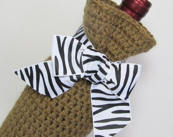 Crochet Bottle Cozy Wine Gift Bag Champagne Sack Black White Striped Zebra Ribbon Animal Print Jute Texture Housewarming Gift
