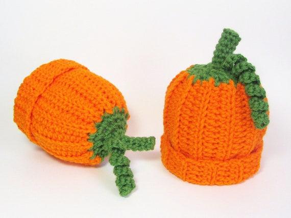 Baby Pumpkin Hat Infant Beanie Orange Squash Cap Size 3 to 6 Months Scorpio Child Autumn Accessory Halloween Costume Whimsical Photo Prop