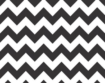 SALE - Riley Blake Medium Chevron in Black  - Half Yard