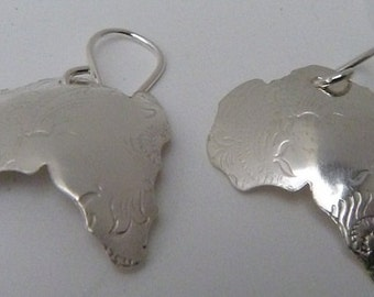 Sterling Silver Earrings Map of Africa Afrocentric Jewelry