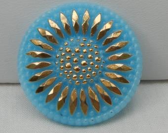 Sunflower Czech Glass Button