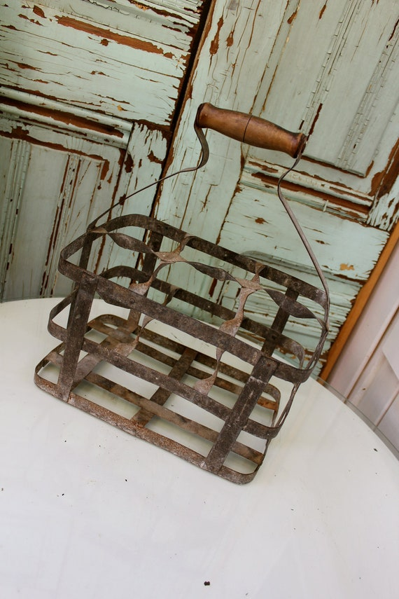 Antique french wire wine bottle carrier by honeystreasures - Wire wine bottle carrier ...