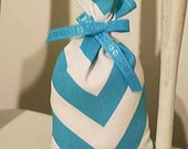 Aqua Chevron Baby Shower Favors, 10 Handmade Party Favor Treat Bags, Bridal Shower Party Favors, Bright Candy Bags, Treat Bags