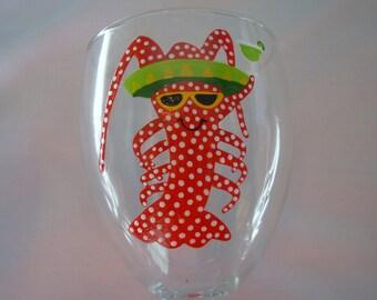 Shrimp Wine Glass Handpainted Personalized, Beach Wine Glass, Nautical Wine Glass, Whimsical Wine glass, Beachy wine glass, Shrimp Glass