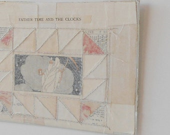 Vintage Book Collage - Father Time and the Clocks - Paper Stitched Collage