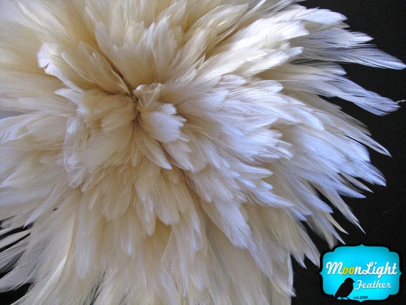 "Rooster Feathers, 4 Inch Strip - 4-6"" NATURAL WHITE Strung Chinese Rooster Saddle Feathers : 580"