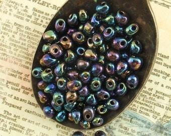 Metallic Dark Blue Iris Drop Beads - 4mm X 3mm Glass Fringe